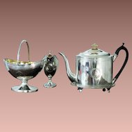 Antique Scottish Georgian Sterling Silver 4 piece Tea Set Service Edinburgh 1797