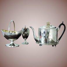 Antique Scottish Georgian Sterling Silver 4 piece Tea Set Service Edinburgh 1797