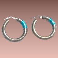 Mid Century Mod Italy Italian Sterling Silver Turquoise Enamel Hollow Hoop Earrings