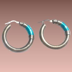 Mid Century Mod Italy Italian Sterling Silver Turquoise Enamel Hollow Hoop Earrings