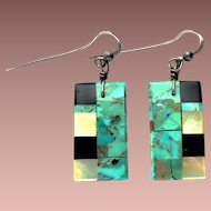 Early Santo Domingo Ke Wa Silver Turquoise Mother of Pearl Onyx Shell Back Inlay Dangle Earrings un Signed