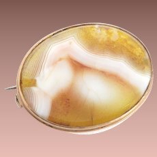 Victorian 14k Yellow Gold Agate Panel Brooch c1900