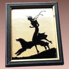 Art Deco c1930 Gold Foil Black Silhouette Painted on Glass Deltex Racing Pairs with Pals Miniature