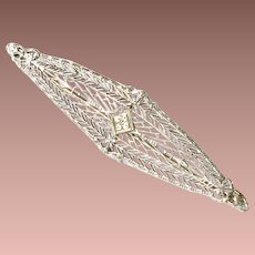 Art Nouveau 14k White Gold Filigree Kohn and Co Bar Brooch c1915