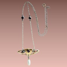 Antique Scottish Gold Diamond Pearl and Paste Arts and Crafts Lavalier Pendant Necklace