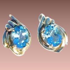 Estate 14k Gold London Blue Topaz Solitaire Post Earrings