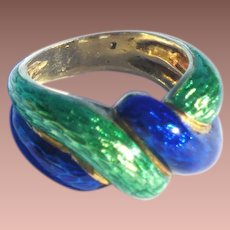 Vintage Italy Designer 18k Green Cobalt Blue Guilloche Enamel Knot Eternity Band Ring sz4 1/4