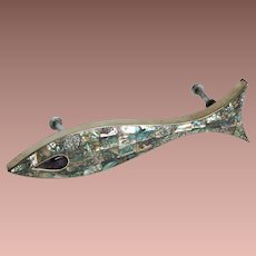 Mid Century Modern Los Castillo Taxco Mexico Amethyst Abalone Inlay Large Figural Fish Door Handle