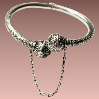 Victorian Sterling Silver Rose Gold Etruscan Revival Bypass Hinged Bangle Bracelet a/f