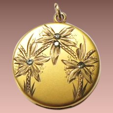 Art Nouveau Yellow Rolled Gold Plate Paste Floral Large Round Photo Locket Pendant ATRICE 1874-1922