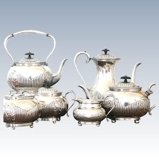 Vintage British Silver Plate 6 piece Tea and Coffee Service Sheffield England c1950