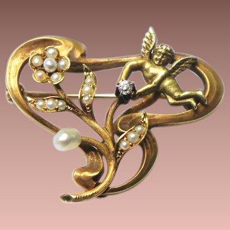 Art Nouveau 14k Gold Diamond Seed Pearl Cherub Angel Brooch Pendant