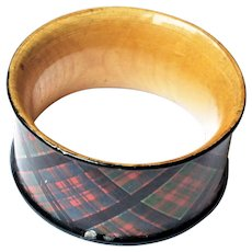 Scottish Victorian Tartan Ware Napkin Ring Clanranald Clan Ranald c1900