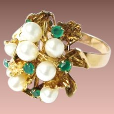 Mid Century 14k Gold Freshwater Pearl Emerald Cocktail Statement Princess Ring sz7