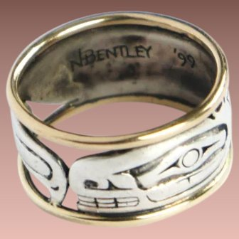 Gorgeous signed Nathan Bentley Haida Sterling Silver Gold Orca Wide Band Ring sz9.75