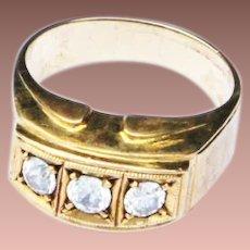 Late Art Deco MId Century 14k Yellow Gold White Zircon Ring c1940-50