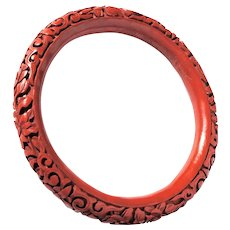 Early Chinese Carved Cinnabar Stacking Bangle Bracelet Floral Motif