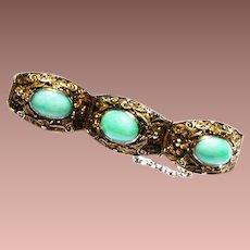 Vintage Chinese Export Gold Wash Silver Filigree Jade Jadeite Link Bracelet