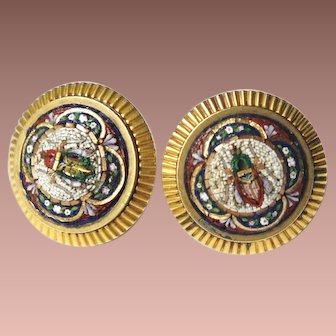 Italy Etruscan Revival 18k Yellow Gold Micro Mosaic Egyptian Scarab Beetle Castellani style Earrings GORGEOUS!