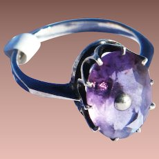 Victorian Sterling Silver Large Oval ct Natural Amethyst Solitaire Cocktail Ring sz 8.75