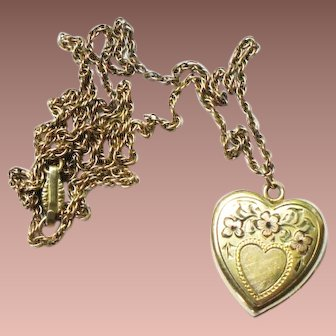 Vintage Payton and Kelley Yellow Rolled Gold Plate Heart Locket c1920