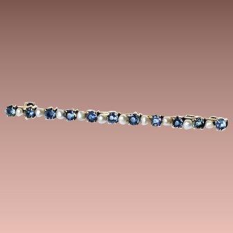 Antique Edwardian Classic 14k Gold c1910-20 Blue Sapphire Pearl Bar Brooch