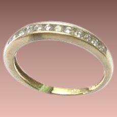 Vintage 14k Yellow Gold Channel Set Diamond Band Ring sz6 1/3
