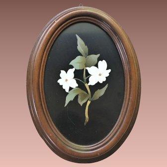 Estate Italian Pietra Dura Floral Panel Plaque