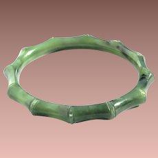 Vintage Spinach Jade Jadeite or Nephrite Carved Bamboo Motif Bangle Bracelet