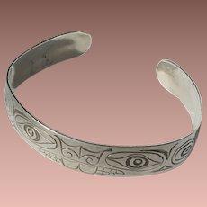 Vintage Tlingit or Haida Sterling Silver Beaver Totem Cuff Bracelet Signed 'ETJ'