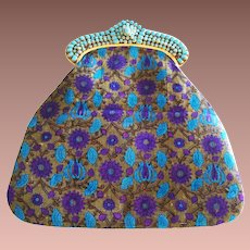 Vintage Designer Tibet India Gold Plate Turquoise Glass Inlay Purple Silk Clutch Purse