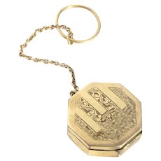 Art Nouveau Yellow Rolled Gold Plate Engraved Octagonal Small Finger Locket Pill Box Chatelaine