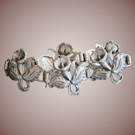 Vintage Late Art Nouveau Art Deco Sterling Silver Daffodil Flower Link Bracelet