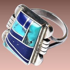 Vintage Navajo Sterling Silver Lapis Turquoise Inlay Signet Ring signed Bill Willie sz7