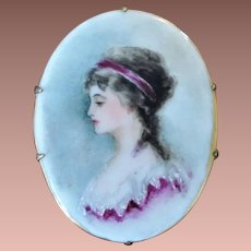 Antique Victorian Hand Painted Portrait Miniature on Porcelain Brooch