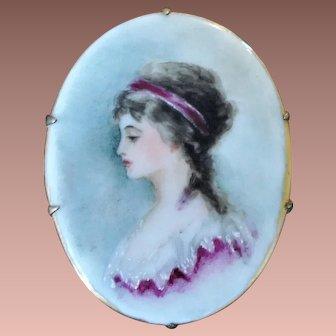 Antique Victorian Hand Painted Portrait Miniature on Porcelain Brooch
