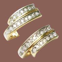 Estate 14k Gold 1ct TW Channel Set Diamond Pierced Earrings
