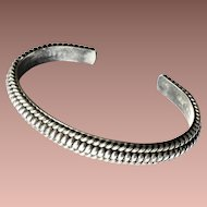 Fine Heavy Hand Crafted Navajo Sterling Silver Twist Cuff Bracelet Stacking