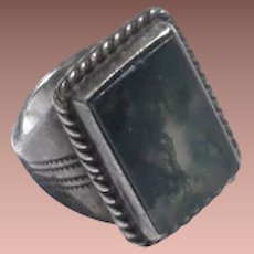American Southwest Old Pawn Picture Agate Silver Large Signet Ring sz11.25