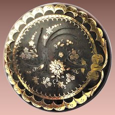 Victorian Civil War era Gutta Percha Gold and Silver Pique Brooch