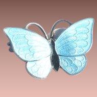 Vintage Danish Denmark Vomer Bahner Sterling Silver Blue Guilloche Enamel Butterfly Pin Brooch