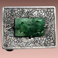 Early Chinese Export Silver Carved Jade Mounted Bon Bon Pill Box c1910-30