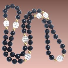 Vintage 12mm Onyx 10k Gold Bead Carved Crystal 32 inch Hand Knotted Opera Length Necklace