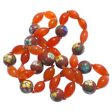"""Vintage c1950 Chinese Hand Knotted 28"""" Carnelian Cloisonne Enamel Bead Necklace"""
