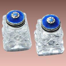 Vintage Norwegian 925S Cobalt Guilloche Enamel Hroar Prydz Cut Glass Salt & Pepper Shakers Cruets