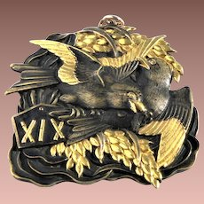 Japanese Art Deco c1930 Shakudo Bird Pendant Converted Gold Overlay Place Card Menu Holder
