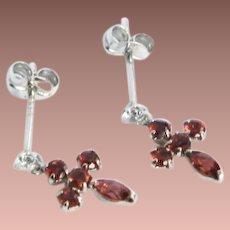 Estate 14k White Gold Diamond Garnet Tiny Drop Pierced Earrings