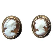 Vintage Italian Italy 585 14k Yellow Gold Shell Portrait Cameo Pierced Post Earrings c1980