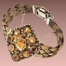 Victorian 19thc Etruscan Revival Sterling Silver Gold Vermeil Citrine Braid Bracelet