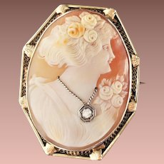Vintage 14k White Yellow Gold Diamond Large Cameo Brooch Pendant c1930-50